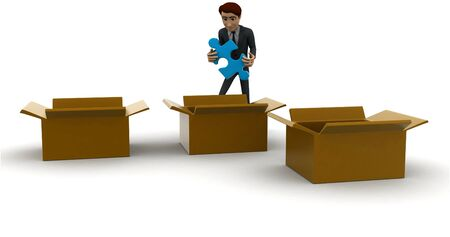 3d man taking out blue puzzle from box,s concept on white background, front angle view Banco de Imagens