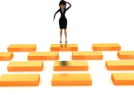 3d woman looking at series of golden boxes concept , front angle view