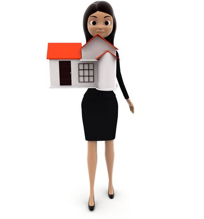 3d woman holding small house in hand concept on white background, front angle view Stok Fotoğraf