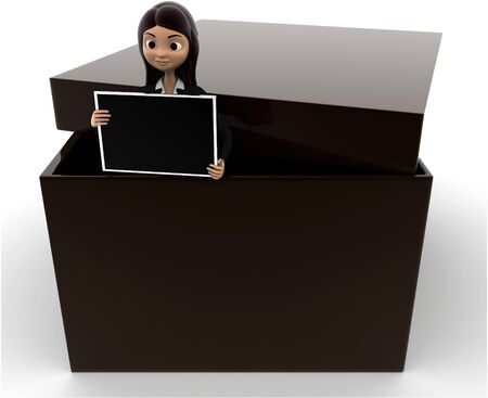 3d woman holding screen from inside box concept on white background, front angle view