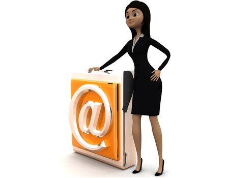 3d woman presenting at the rate symbol icon concept on white background - 3d rendering , side angle view Stok Fotoğraf