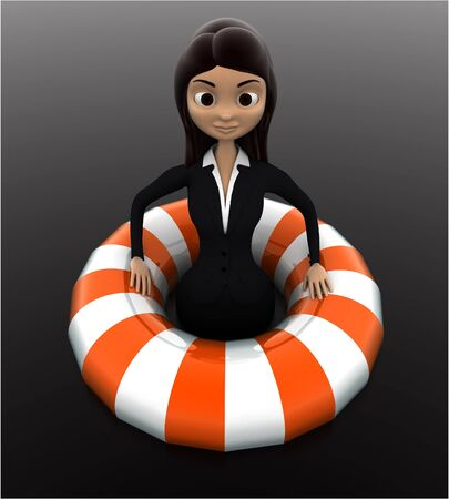 3d woman float with life saver floating tube concept on white background, front angle view