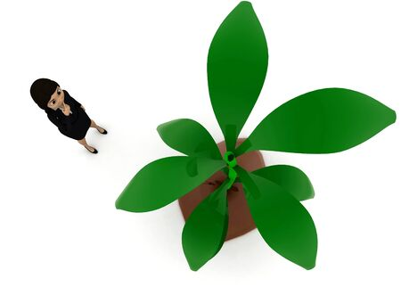 3d woman looking at plant concept in white isolated background , top angle view Stok Fotoğraf