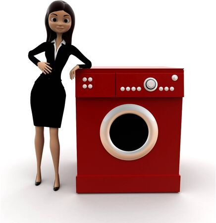 3d woman with washing machine concept on white background, front angle view