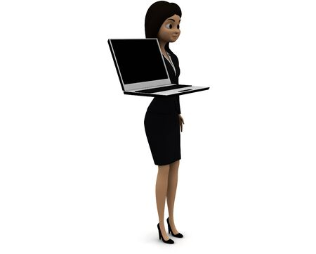 3d woman holding a laptop in hands concept in white isolated background 3d - rendering , side angle view