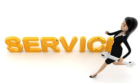 3d woman running toward service text with wrench concept on white background, top angle view
