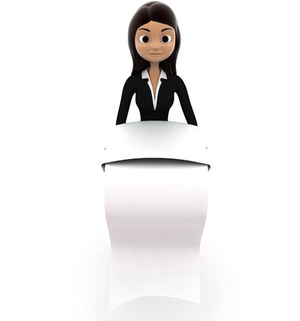 3d woman with long list of paper concept on white background, front angle view Imagens - 134570698