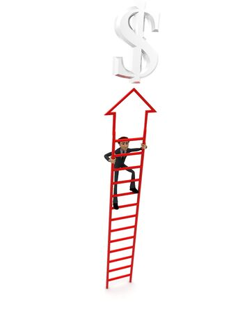 3d man climb arrow stair up towrds silver dollar sign concept on white background, front angle view