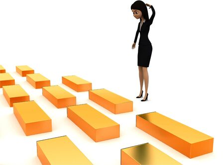 3d woman looking at series of golden boxes concept , side angle view