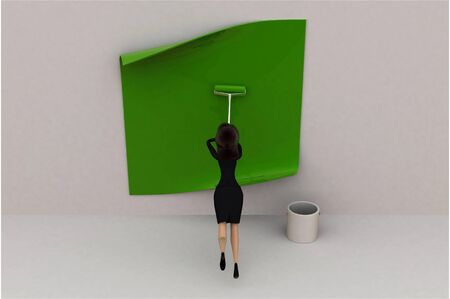 3d woman paint green concept on white background, top angle view Imagens - 134570711