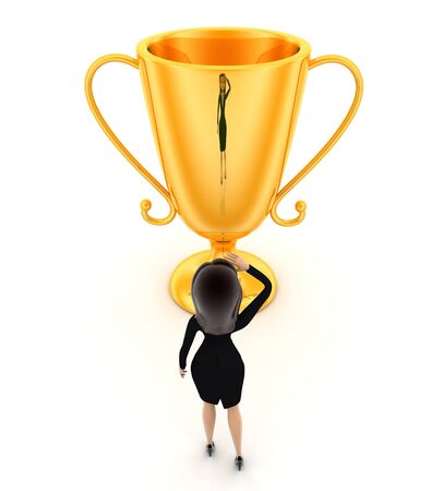 3d woman thinking about big golden cup award concept on white background, top angle view