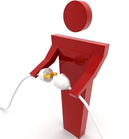 3d man connecting plug pin concept on white background  sideangle view Imagens - 134570713
