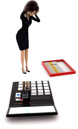 3d woman looks worried about calculation on calculator and abacus concept on white background, side angle view