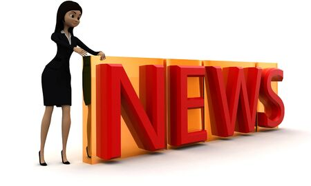 3d woman news concept in white background - 3d rendering , side angle view