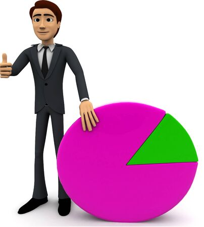 3d man standin beside pie graph concept on white background, front angle view Stok Fotoğraf
