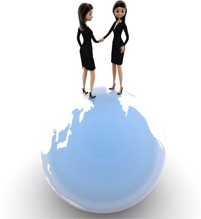 3d woman handshake on globe concept on white background, front angle view Stok Fotoğraf