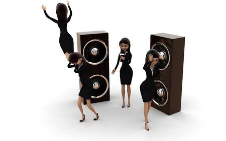 3d woman dance with speaker concept on white background, side angle view Stok Fotoğraf