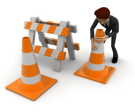 3d man with traffic cones and hurdle concept on white background, side angle view