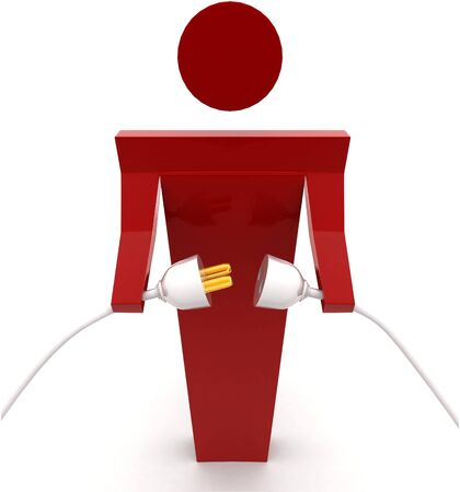 3d man connecting plug pin concept on white background front angle view