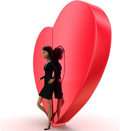 3d woman with connected heart concept on white background, low angle view