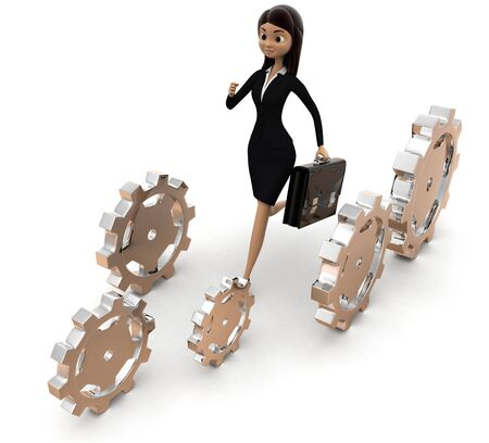 3d woman running with cogwheels concept on white background, top angle view