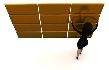 3d woman arranging golden blocks concept in white isolated background 3d - rendering , top angle view