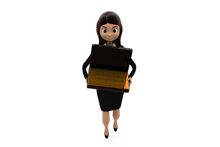 3d woman holding briefcase containing gold biscuts concept on white background, front angle view