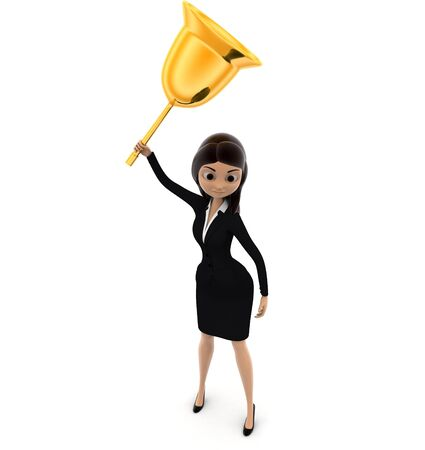 3d woman play golden metalic bell concept on white background, top angle view