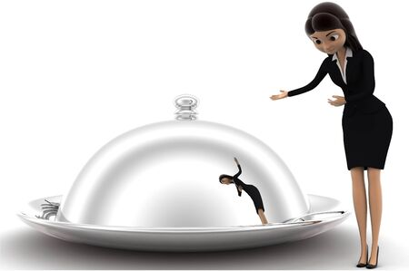 3d woman welcome and present big dish with food concept on white background, front angle view