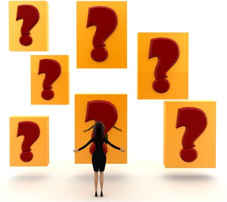 3d woman looking at big red question mark concept on white background, front angle view