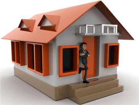 3d man stand in front of home with air conditioner concept on white background, front angle view