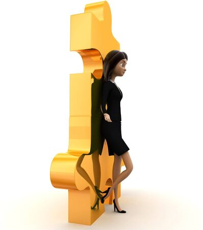 3d woman leaning on puzzle concept on white background, side angle view