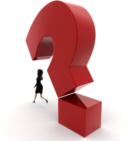 3d woman running from falling question mark concept on white background, back angle view