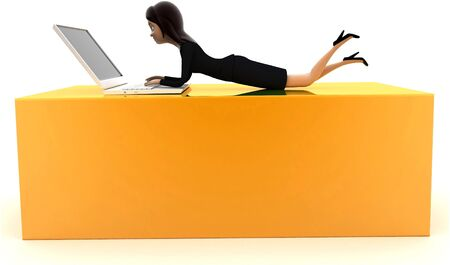 3d woman working on laptop concept on white background, side angle view