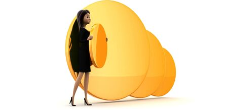 3d woman carry big golden coin concept on white background, side angle view