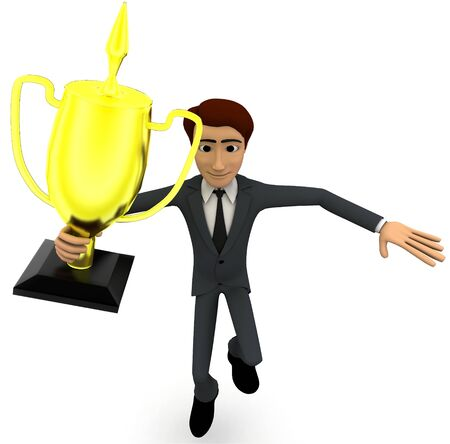 3d man holding golden award cup concept on white background, front angle view