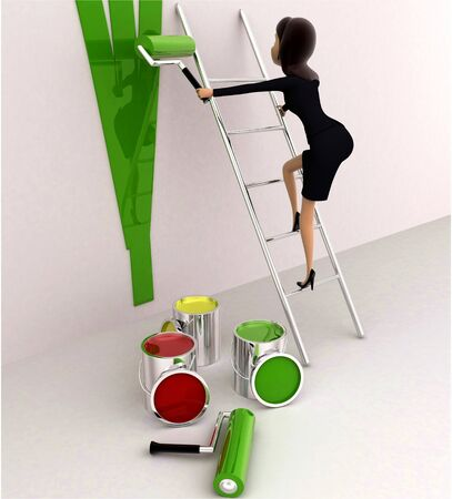 3d woman paint wall green using paint roller concept on white background, side angle view Imagens - 134570810