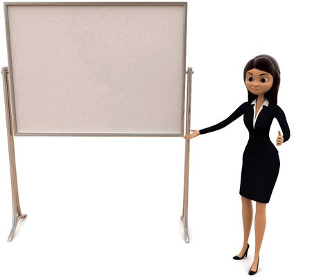 3d woman present presentation on white empty board concept on white background, front angle view