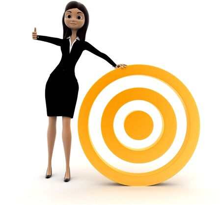 3d woman with golden target concept on white background, front angle view