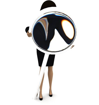 3d woman looking through magnifier concept on white background - 3d rendering , front angle view