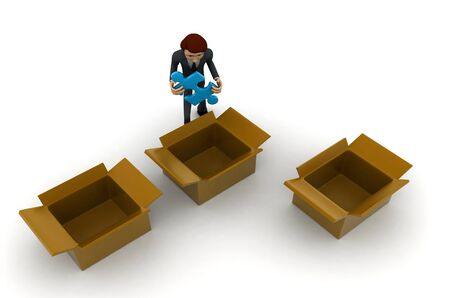 3d man taking out blue puzzle from box,s concept on white background, top angle view