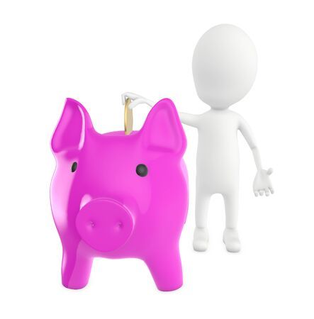 3d white character inserting golden coin to piggy bank - 3d rendering Stok Fotoğraf