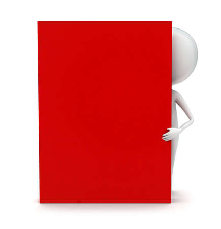 3d man standing beside a red box concept - 3d rendering Imagens