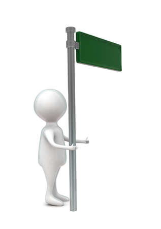 3d man standing next to a sign board concept - 3d rendering