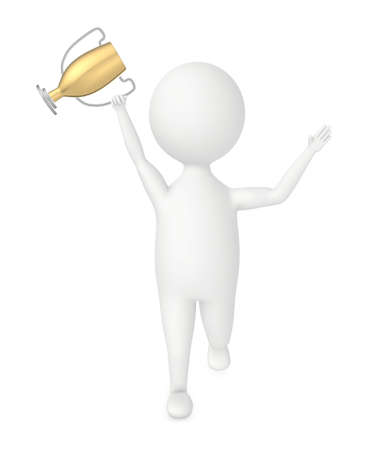 3d character excited , holding a golden trophy