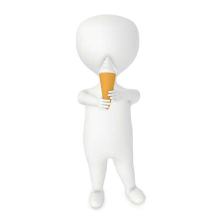 3d character , man with a ice cream