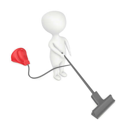 3d character , man cleaning with vaccum cleaner