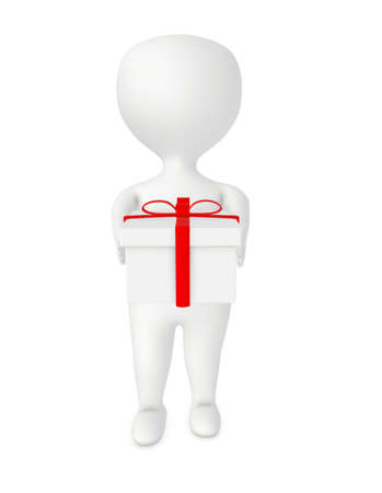 3d character,  man holding wrapped gift box