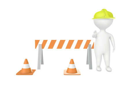 3d character work men showing stop gesture , traffic cones and Imagens