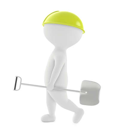 3d character, man wearing safety cap and walking with a shovel in his hand